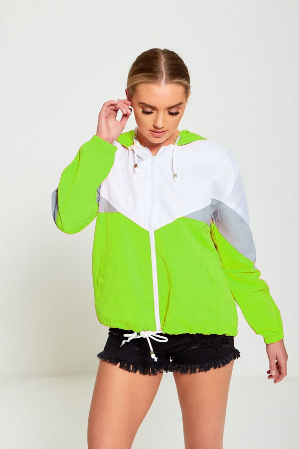 Neon Green Two Tone Cagoule Jacket