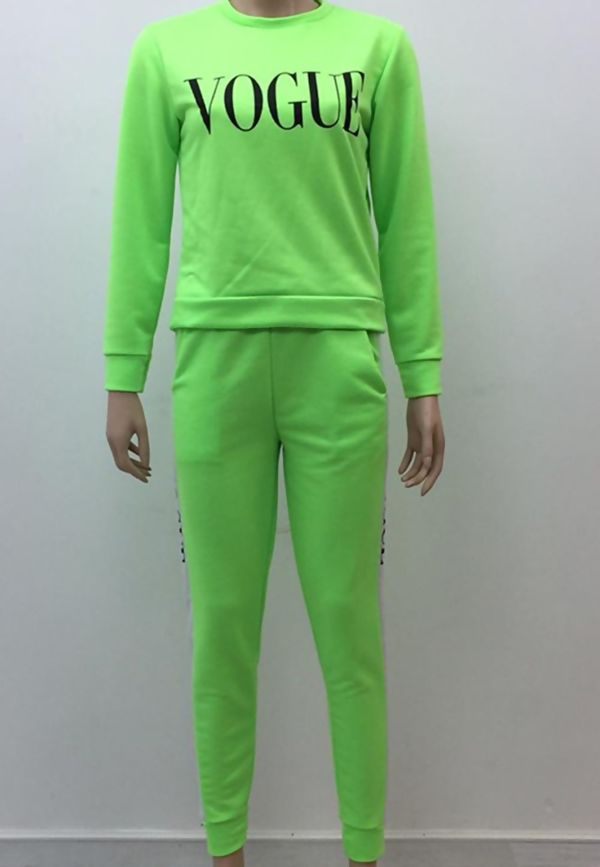 Neon Green VOGUE Print Tracksuit