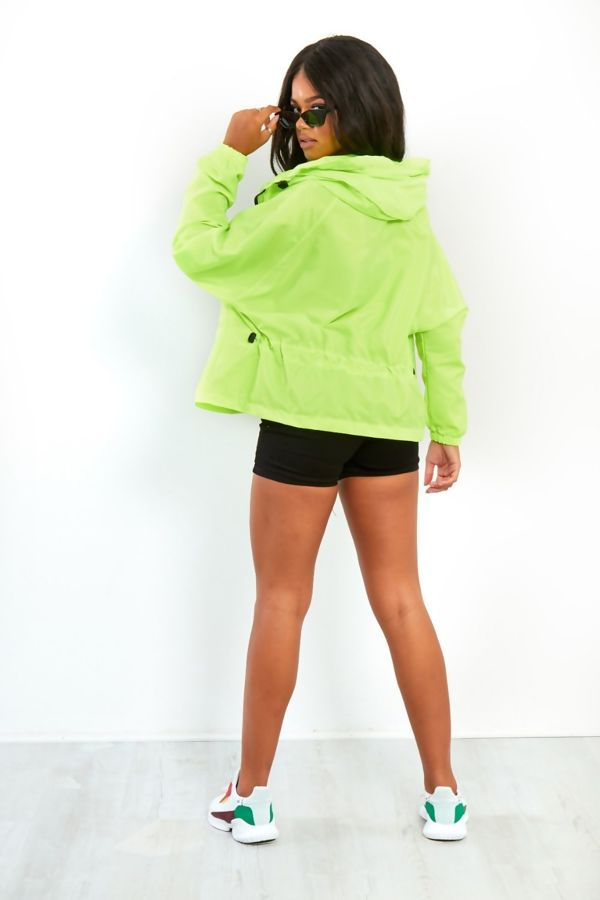 Neon Lime Light Weight Hooded Jacket