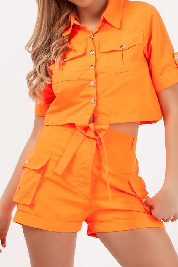 Neon Orange Cargo Shorts and Shirt Set
