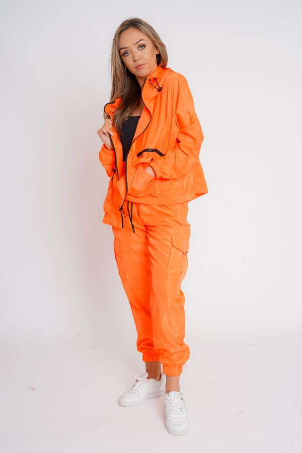 Neon Orange Cargo Style Trouser