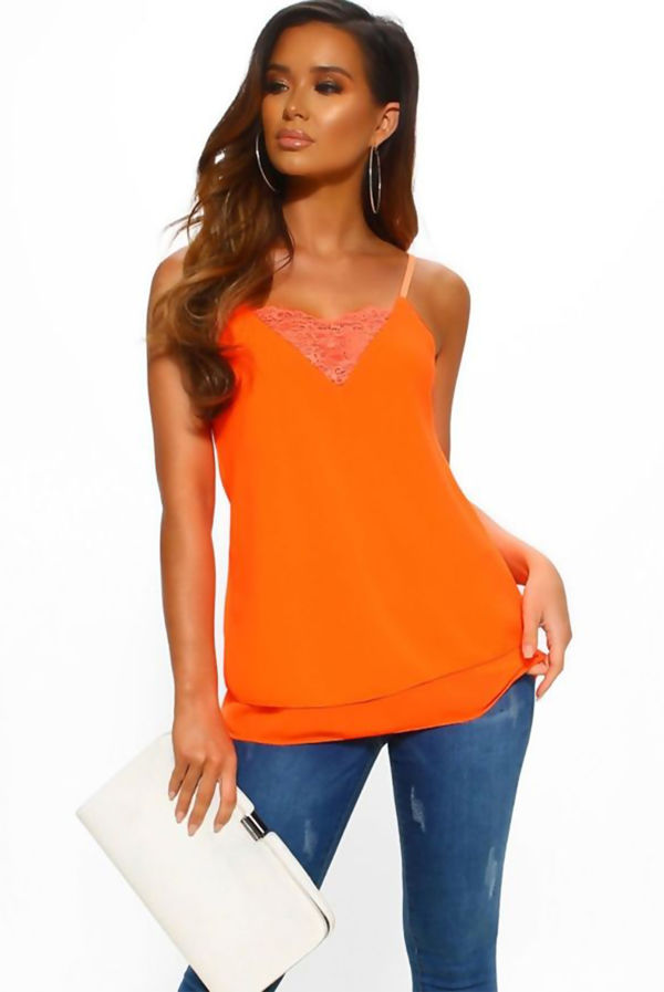 Neon Orange Lace Cami Top