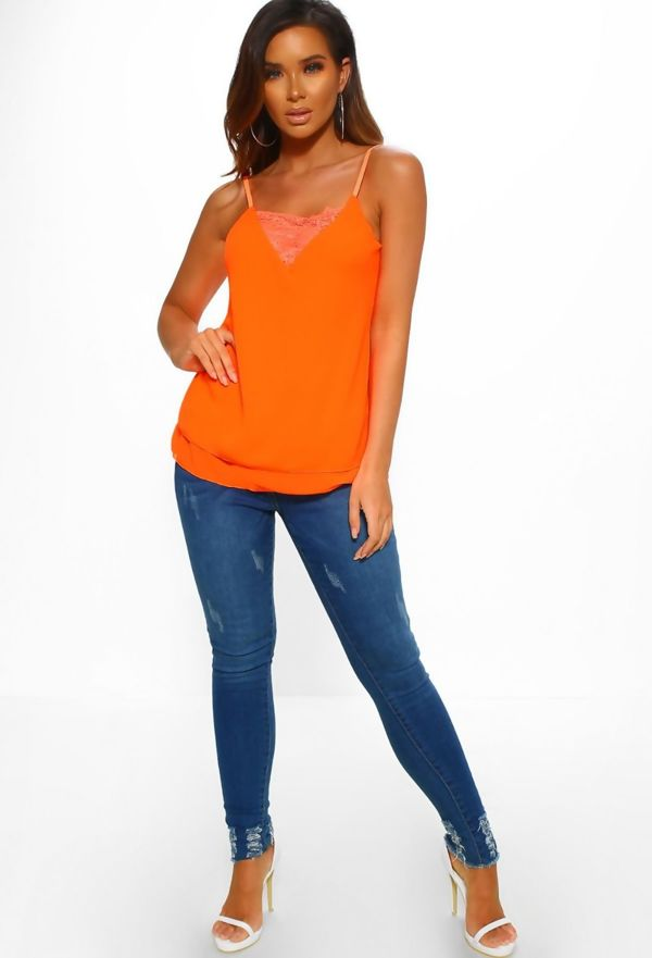 Neon Orange Lace Cami Top