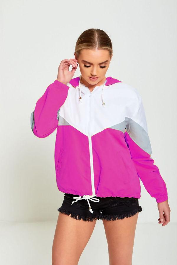 Neon Orange Two Tone Cagoule Jacket