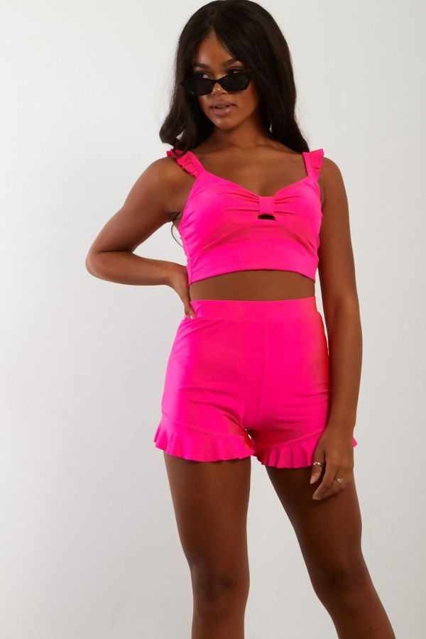 Neon Pink Frill Crop Top and Short Set