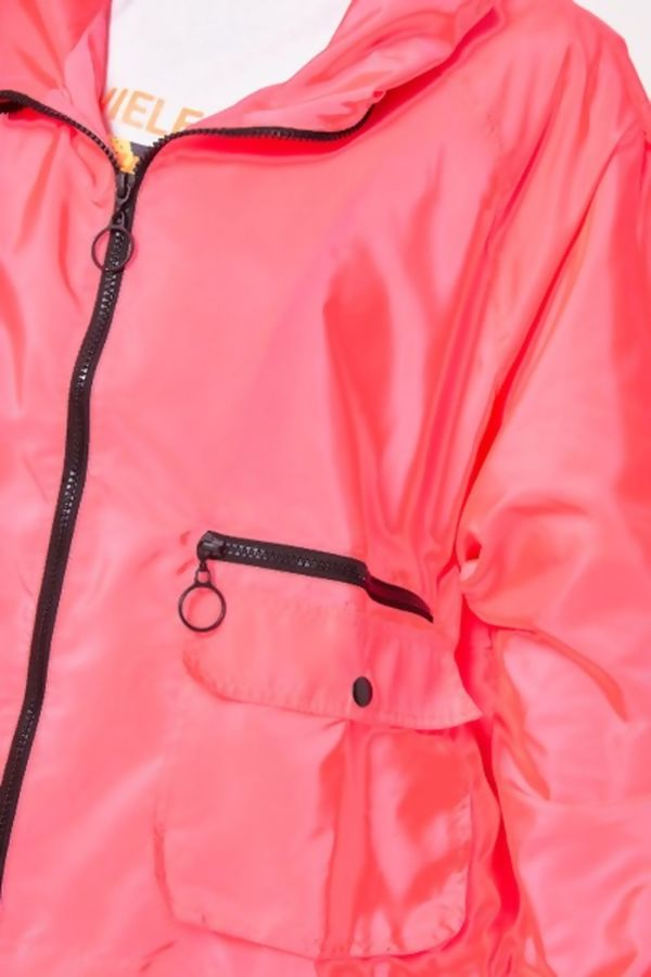 Neon Pink Light Weight Hooded Jacket