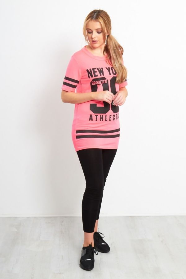 Neon Pink New York 98 Oversize T-Shirt