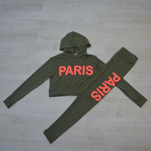 Neon Pink Paris Slogan Hooded Tracksuit