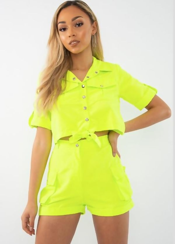 Neon Green Cargo Shorts and Shirt Set