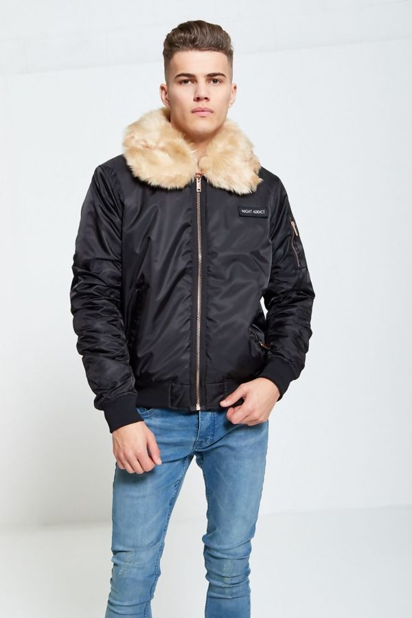 Night Addict Line Fur Bomber Jacket