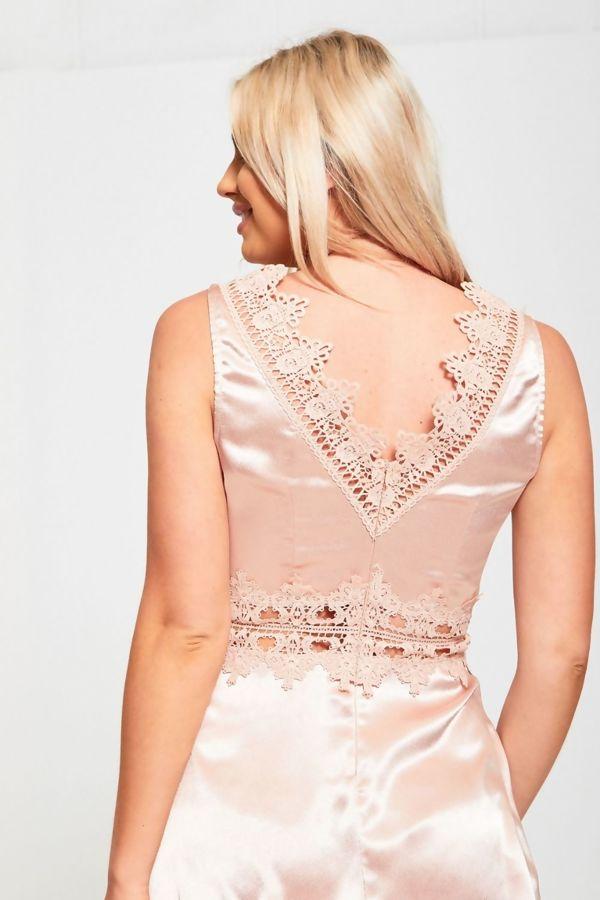 Nude Crochet Lace Detailed Mini Dress