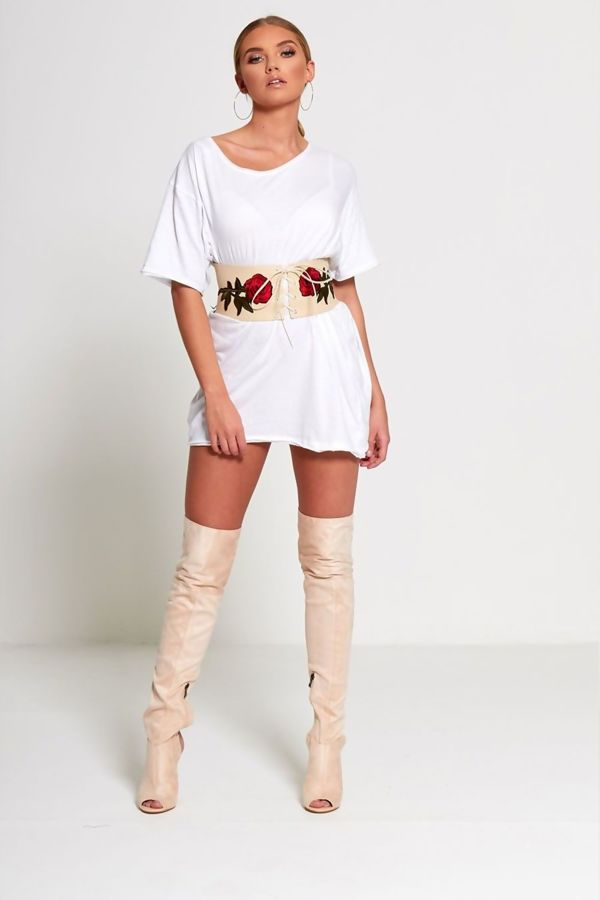Nude Floral Embroidered Corset Belt