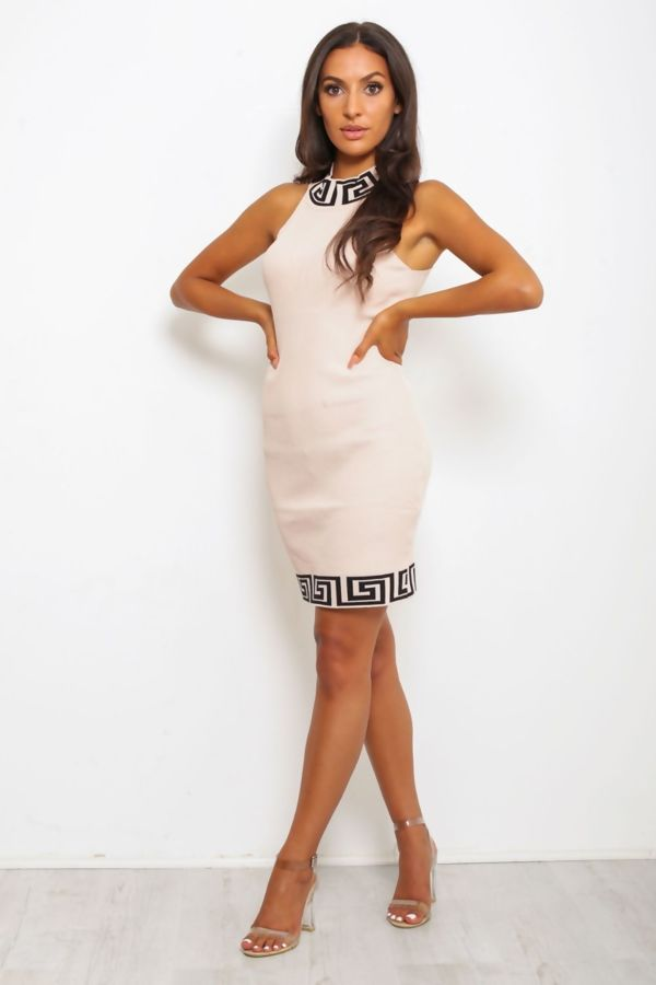 Nude Greek Key Ribbed Bodycon Dress