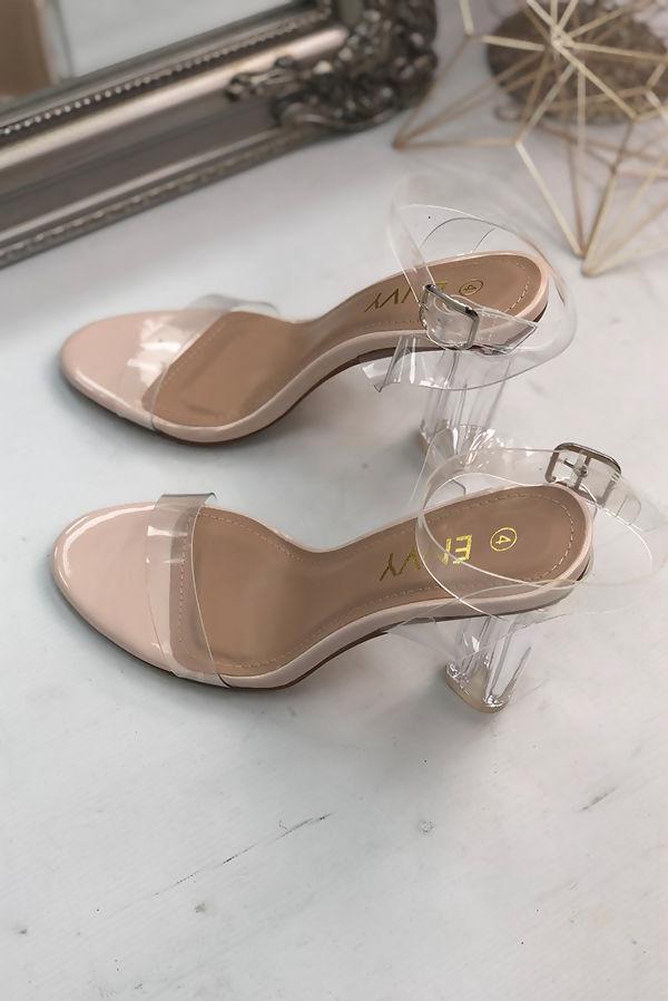 Nude Perspex Wrap Ankle Block Heels