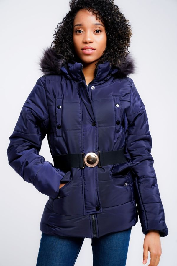 Black Belted Jecket With Detachable Faux Hood