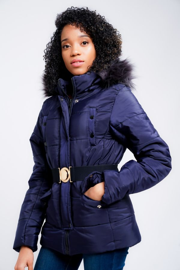 Navy Belted Jecket With Detachable Faux Hood