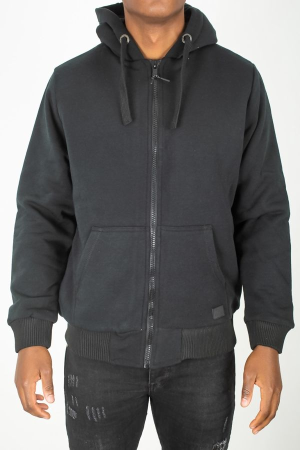 Navy Borg Lined Hoodie