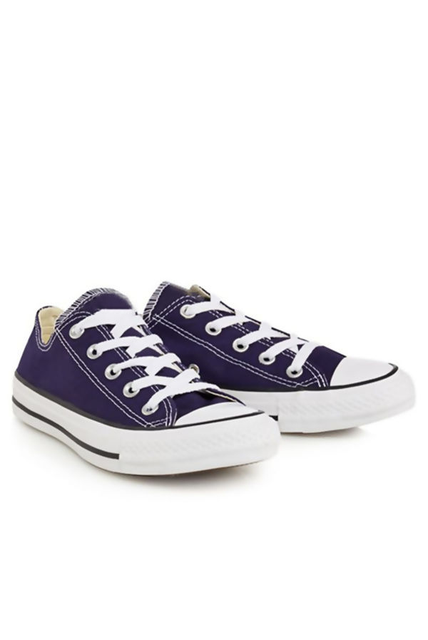 Navy Canvas Flat Lace Up Trainers
