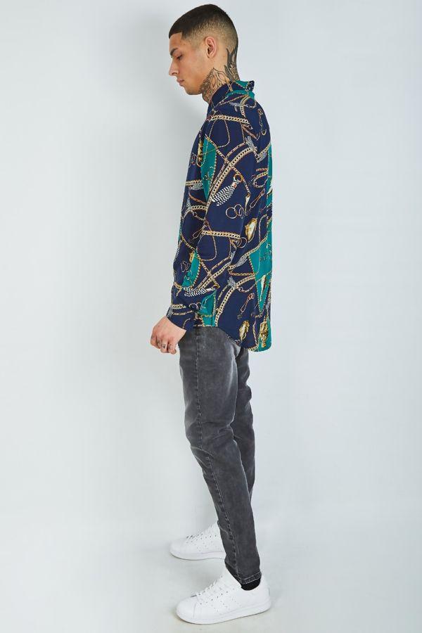 Navy Chain Print Long Sleeve Shirt
