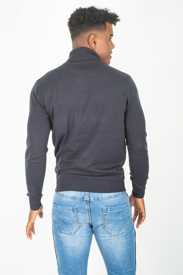 Navy Fine Knit Polo Neck Jumper