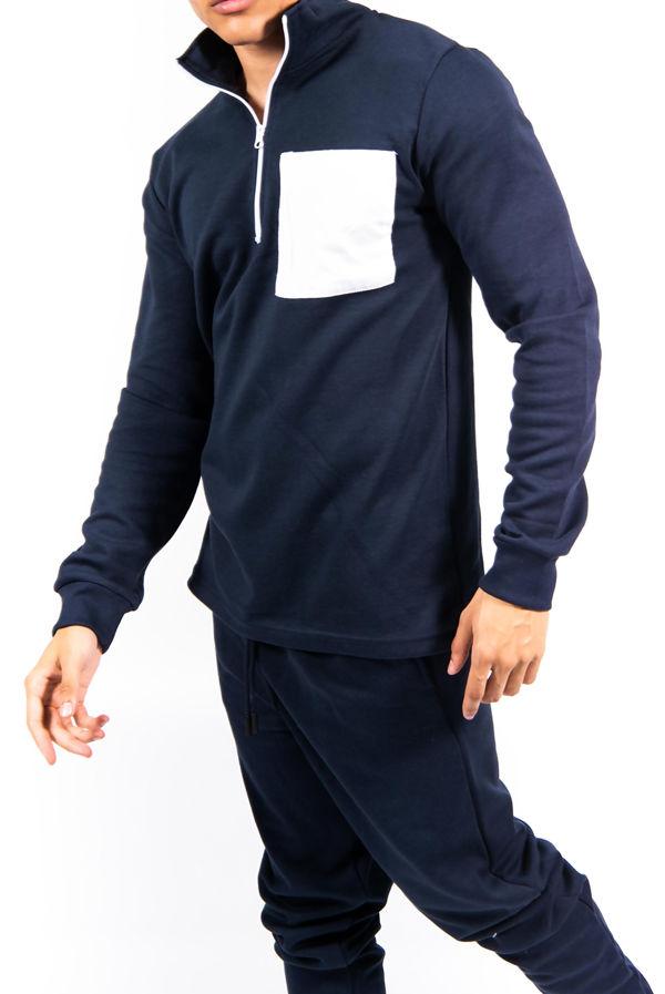 Navy Half Zip Contrast Pockets Skinny Fit Tracksuit