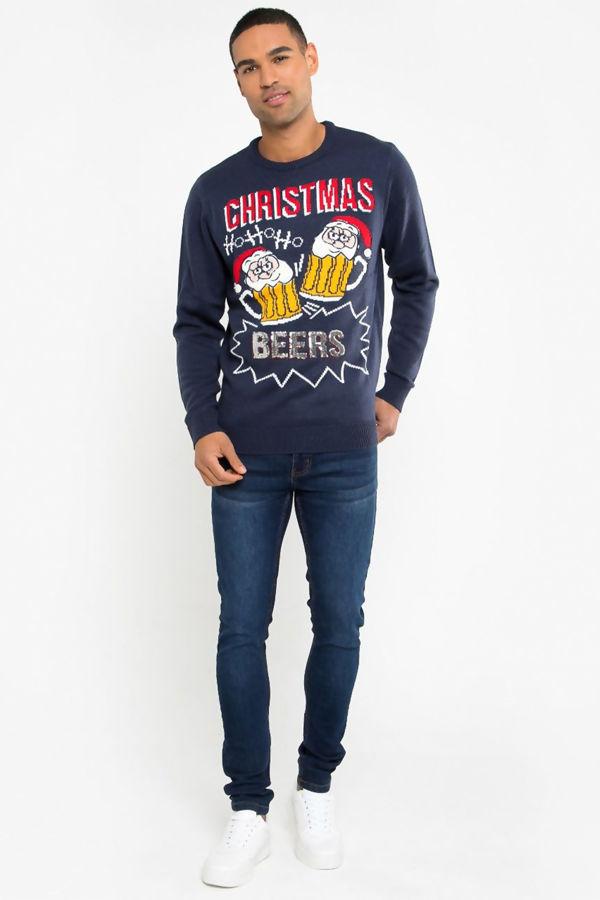 Navy Ho Ho Ho Beers Christmas Jumper