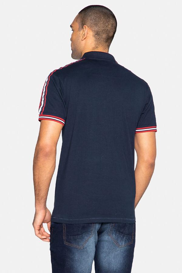 Navy Lexter Cotton Short Sleeve Polo Shirt