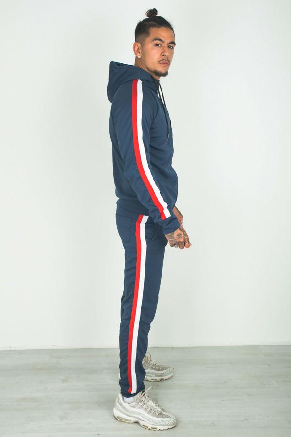 Navy Side Stripe Hoodded tracksuit