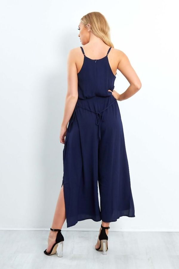 Navy Stella Split Cami Crop Jumpsuit