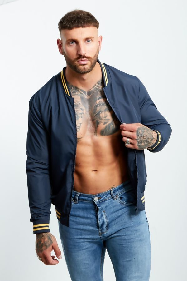 Navy Stripe Ribbed Jacket