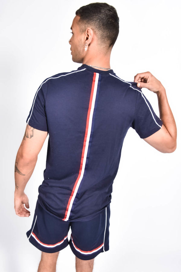 Navy Tape Striped Back Piped Short Set