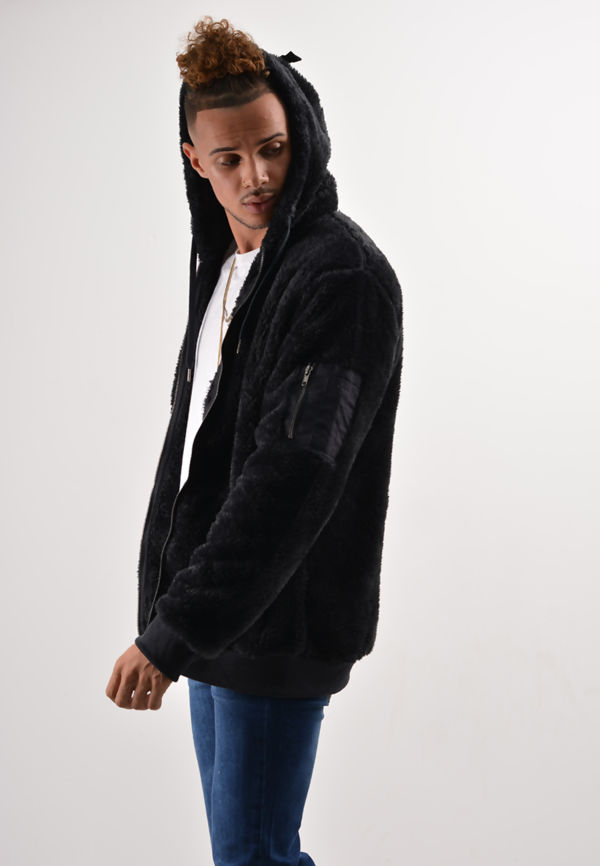 Navy Teddy Faux Fur Hood Jacket