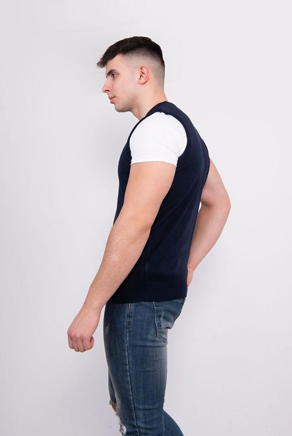Plus Size Navy V-Neck Sleeveless Knitted Jumper
