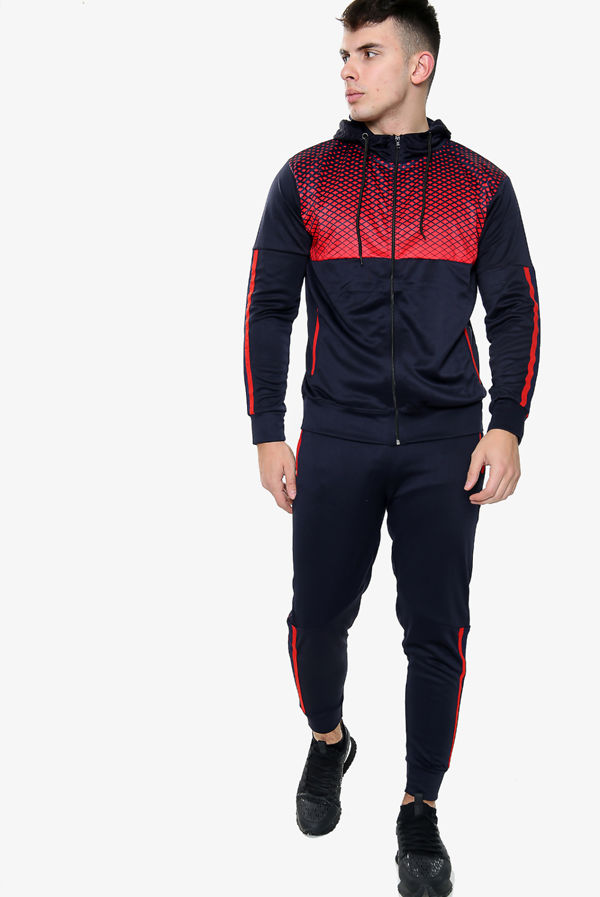 Navy With Red Diamond Funnel Hood Tracksuit