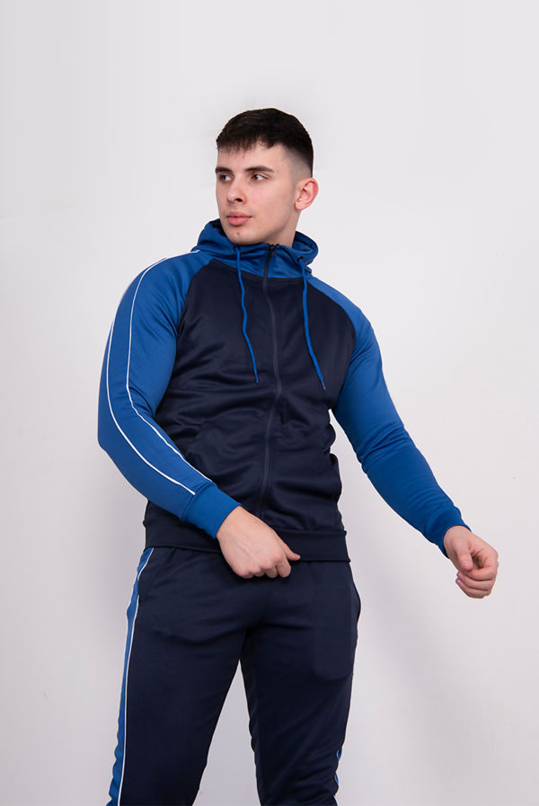Navy With Royal Piped Raglan Tracksuit