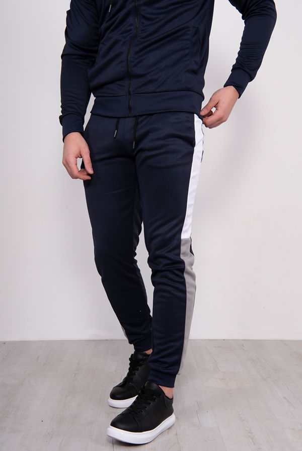 Navy With Silver Chevron Stripe Poly Tracksuit