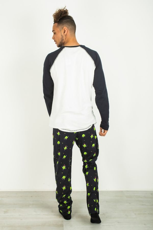 Navy twist and sprout printed pajama set