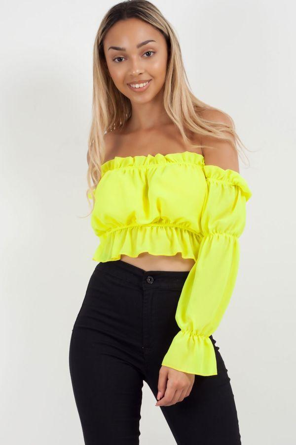 Neon Frill Bardot Top