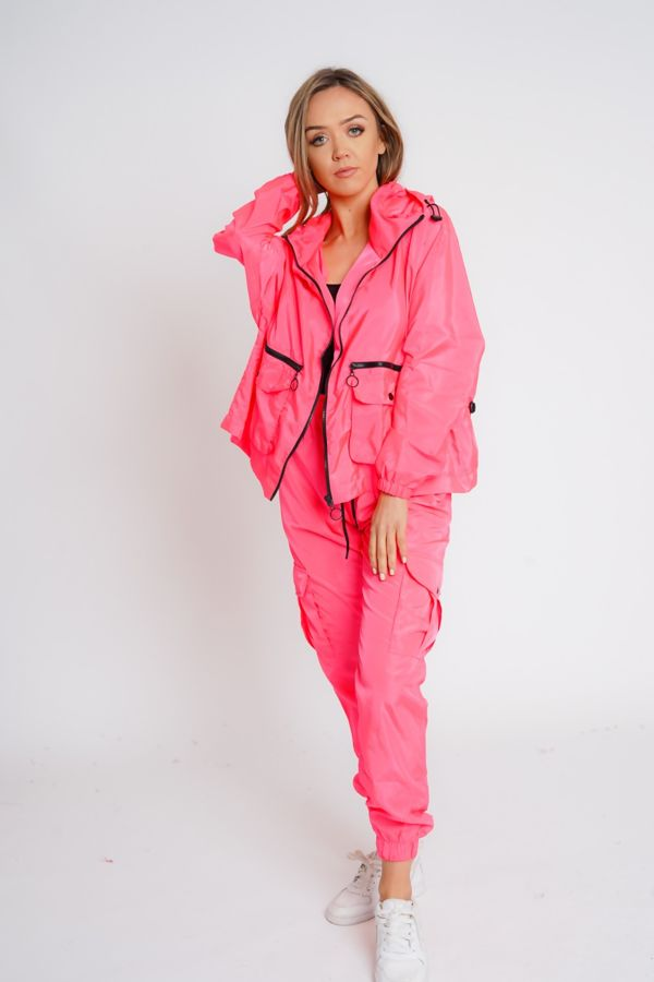 Neon Pink Cargo Style Trouser
