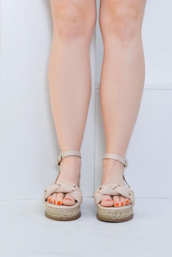 Nude PU Plaited Strap Flatform Espadrille Sandals