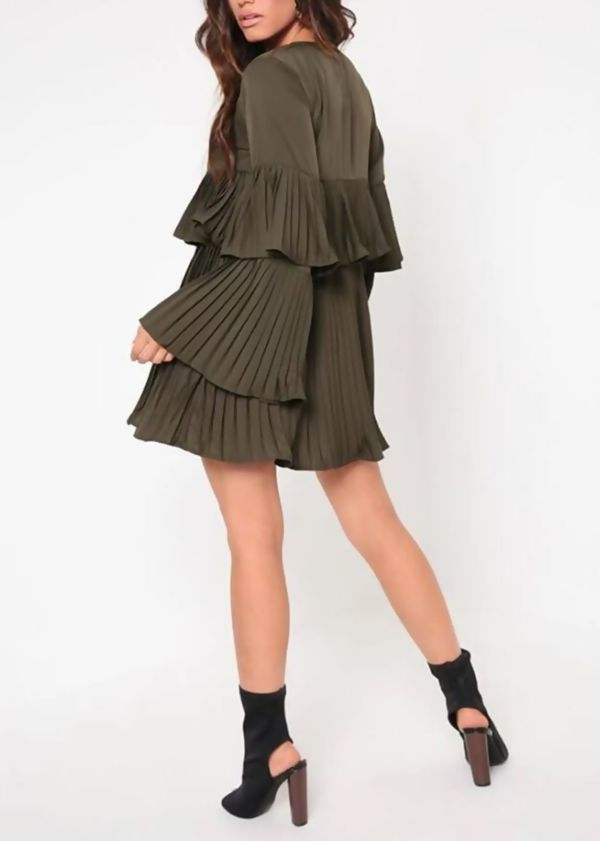 Petrol Pleated Long Sleeve Smock Dress