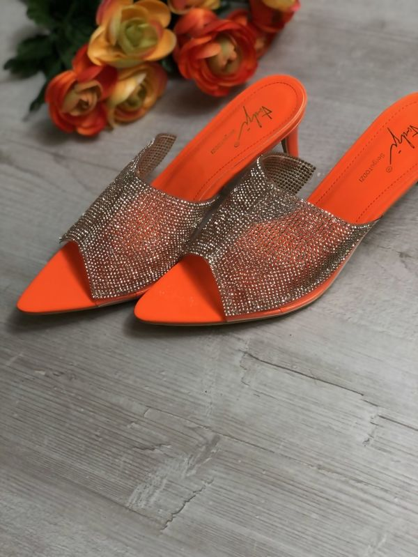 Orange Diamante Pointed Toe Heels