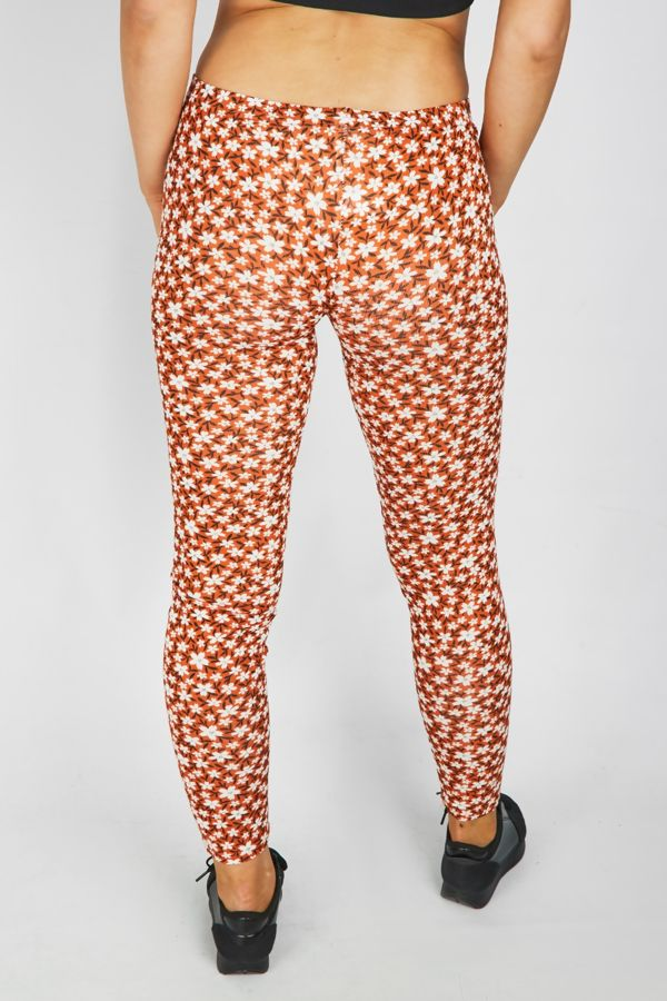 Orange Flower Printed Legging