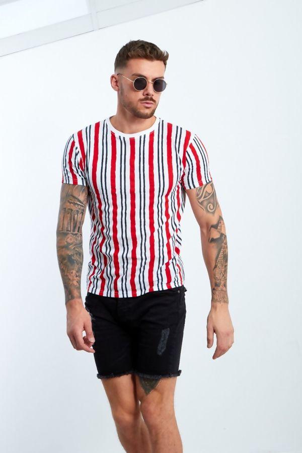 Orange Multi Stripe Muscle Fit T-Shirt
