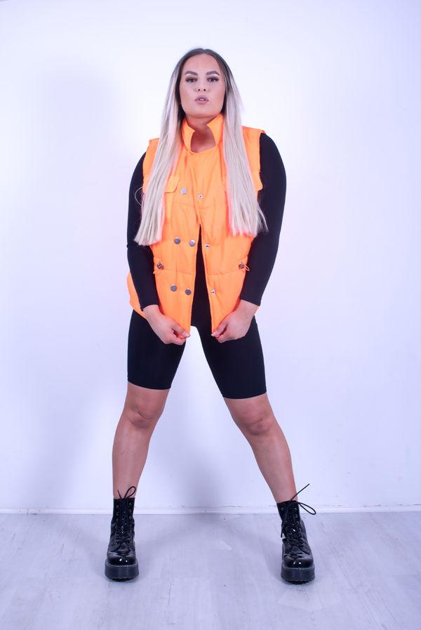 Orange Pocket Front Puffer Gilet