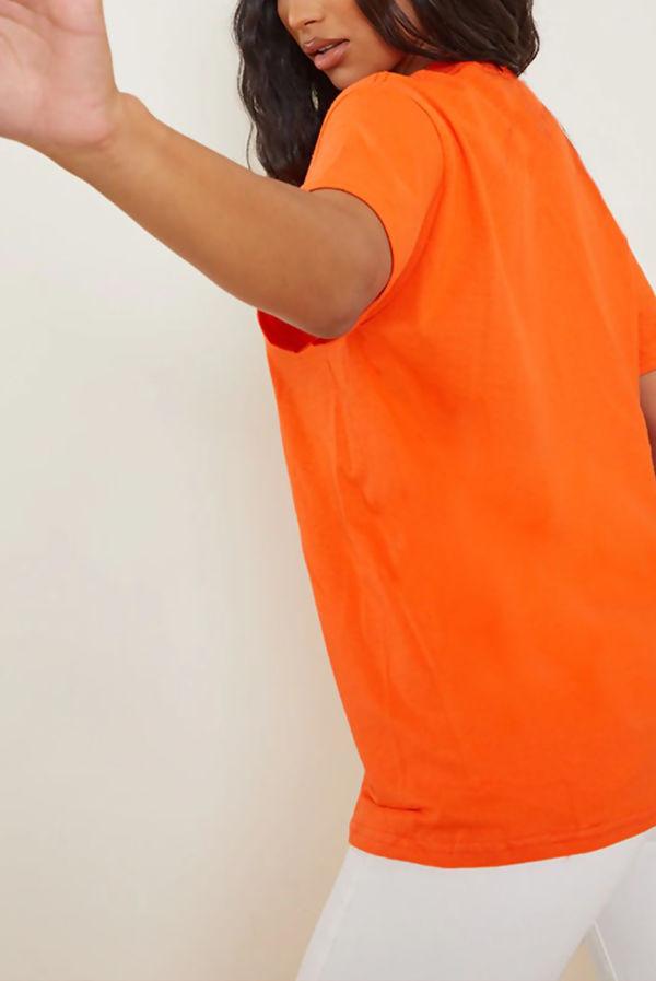 Orange Smiley Printed T Shirt