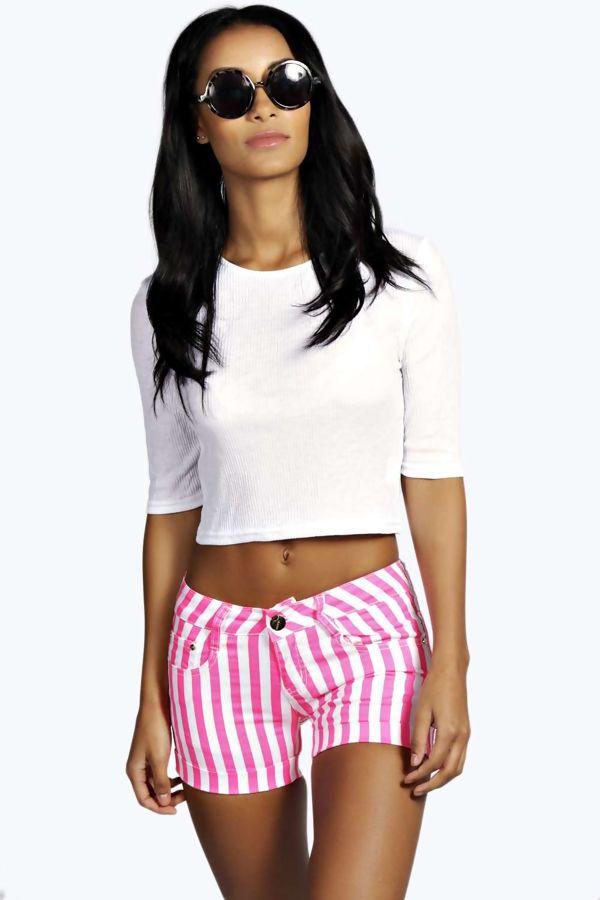 Orange Striped Shorts
