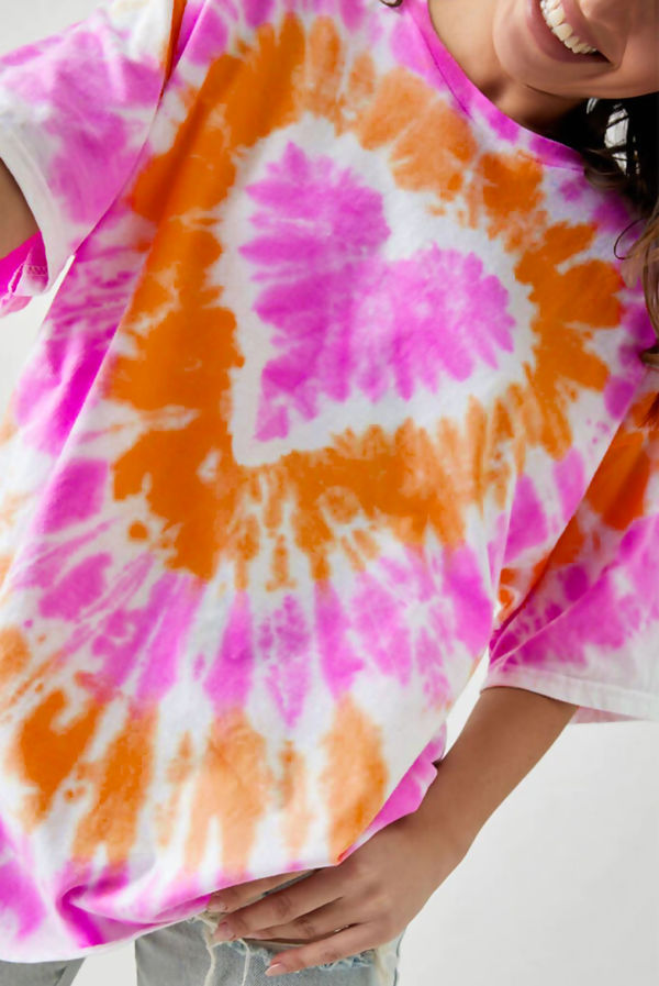 Orange Tie Dye Heart Tee Dress