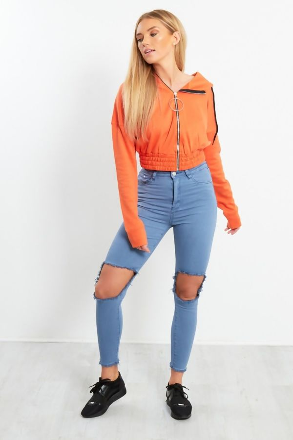 Orange Zip Front O-Ring Cropped Jacket