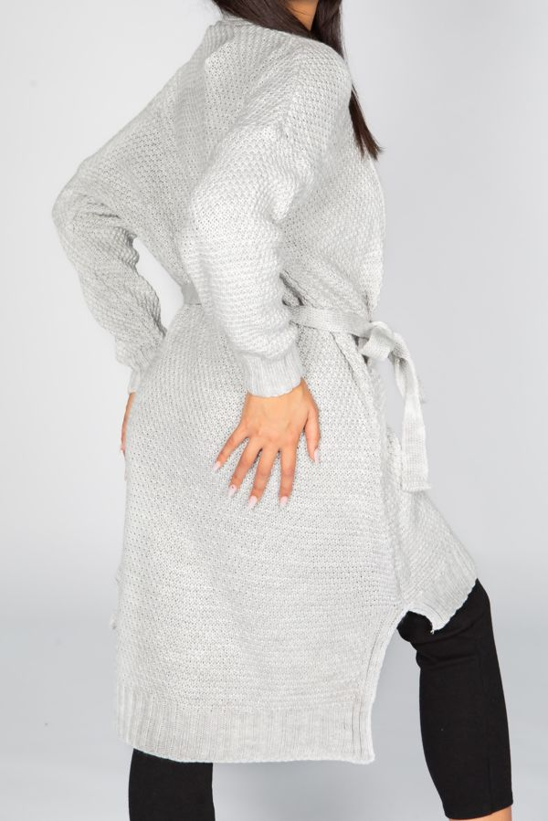 Oversized Belted Waffle Knitted Maxi Cardigan